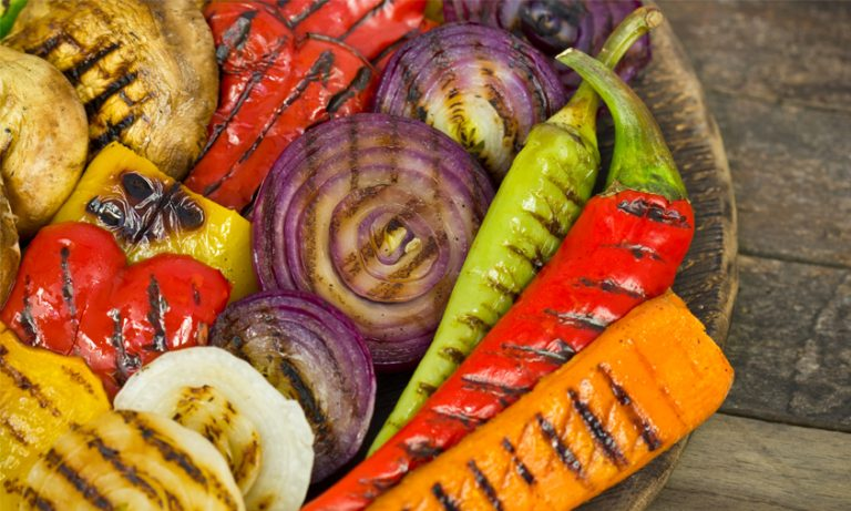 A dish of grilled veggies