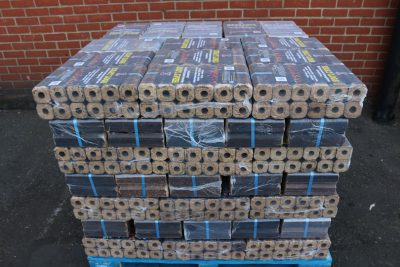 Full pallet of compressed saw dust heat logs