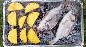salt crusted sea bream and caramelised pineapple