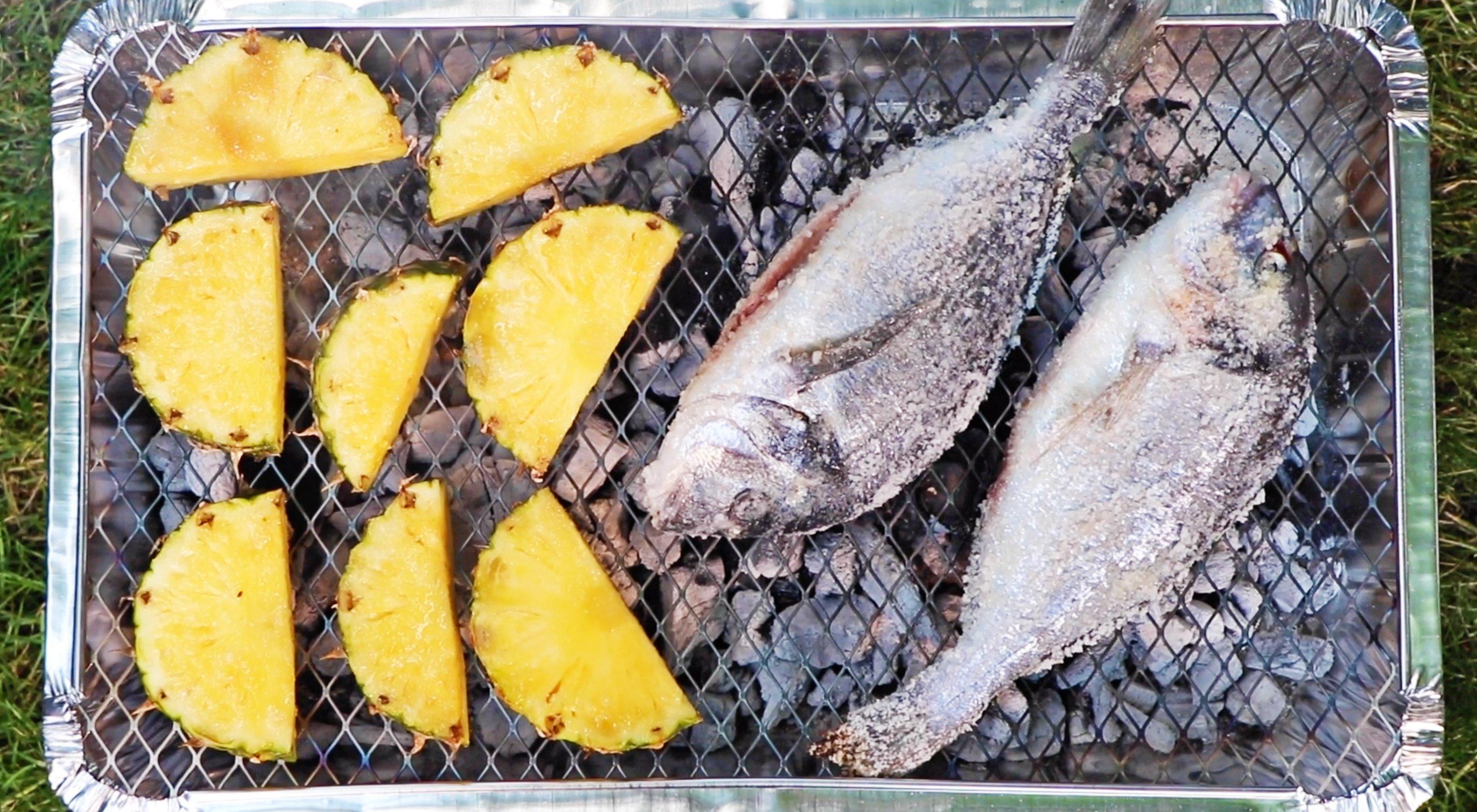 salt crusted sea bream and caramelised pineapple