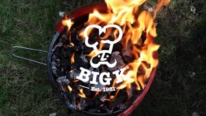 image of big k instant light charcoal being burned in kettle bbq