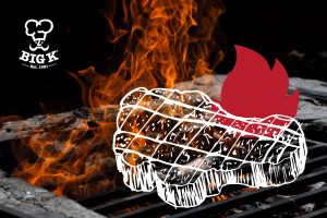 An illustrated steak burning on a grill after lighting a BBQ