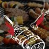 An illustration of a chicken leg and skewer lie over a perfect BBQ menu grilling in the background