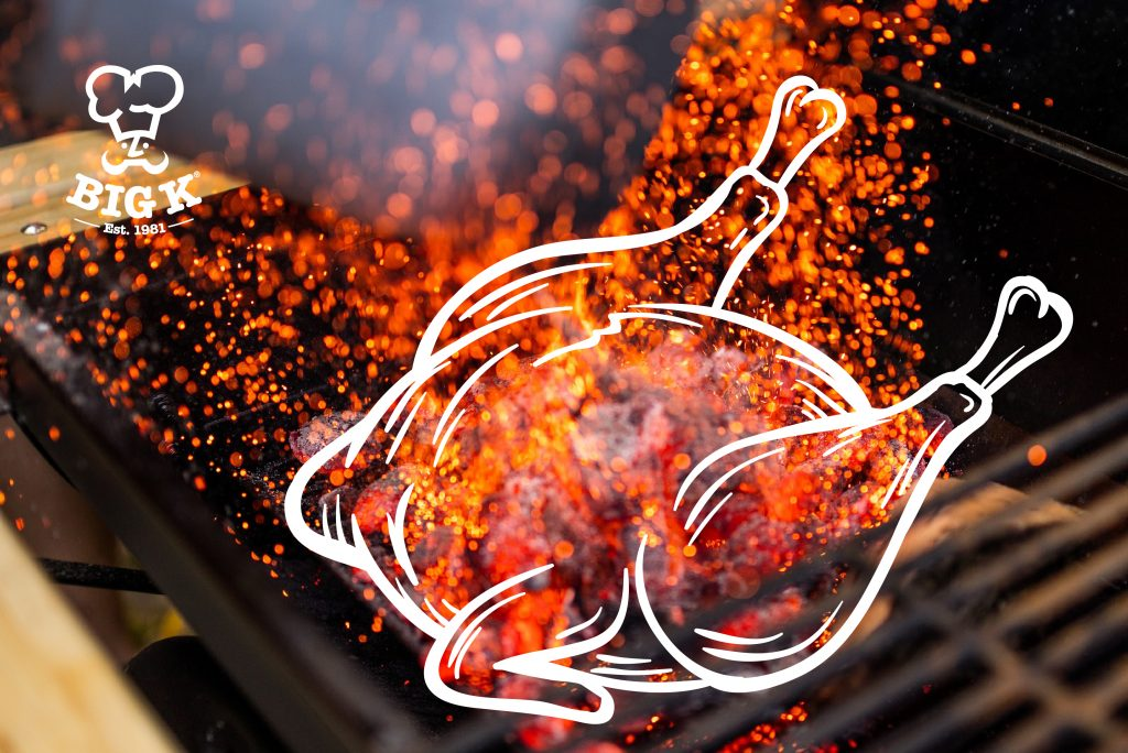 An illustrated entire BBQ chicken lies in the foreground while embers fly off a burning charcoal pile and hot grill