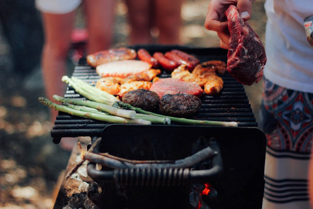 Mixed meat and veg cook on a hot grill. This combination is one of the best BBQ ideas out there