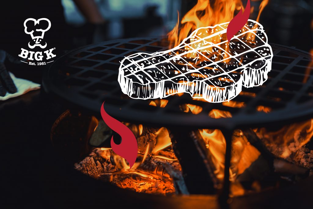 An illustrated BBQ steak from the selection of BBQ steaks is drawn on a hot grill with charcoal burning