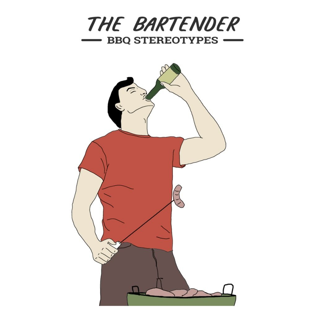 A picture of a man drinking in front of his BBQ grill, meet the Bartender