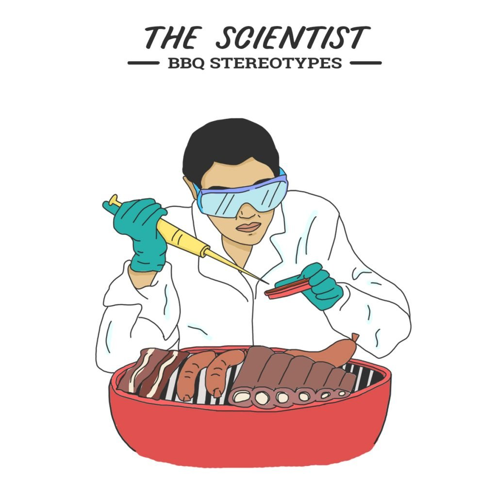 A picture of the BBQ scientist complete with gloves, googles and pipette