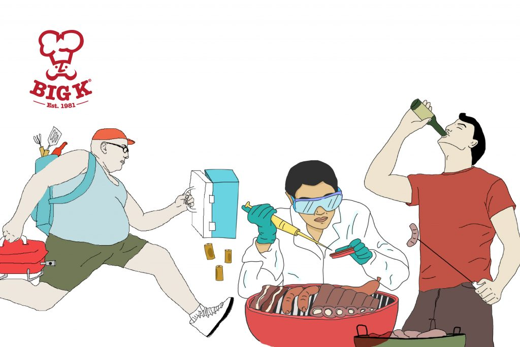 A group of illustrations showing several BBQ personalities