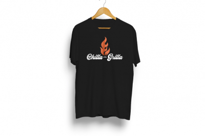 Chilla-grilla T Shirt Black with Flame