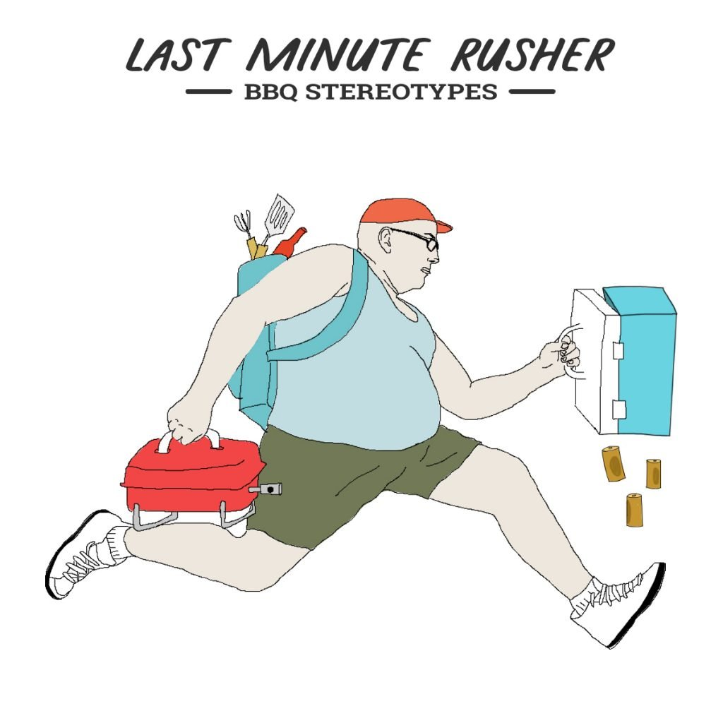 A picture of the BBQ personality known as the last minute rusher. This rusher is running clutching a bag with beers falling out of his cooler bag