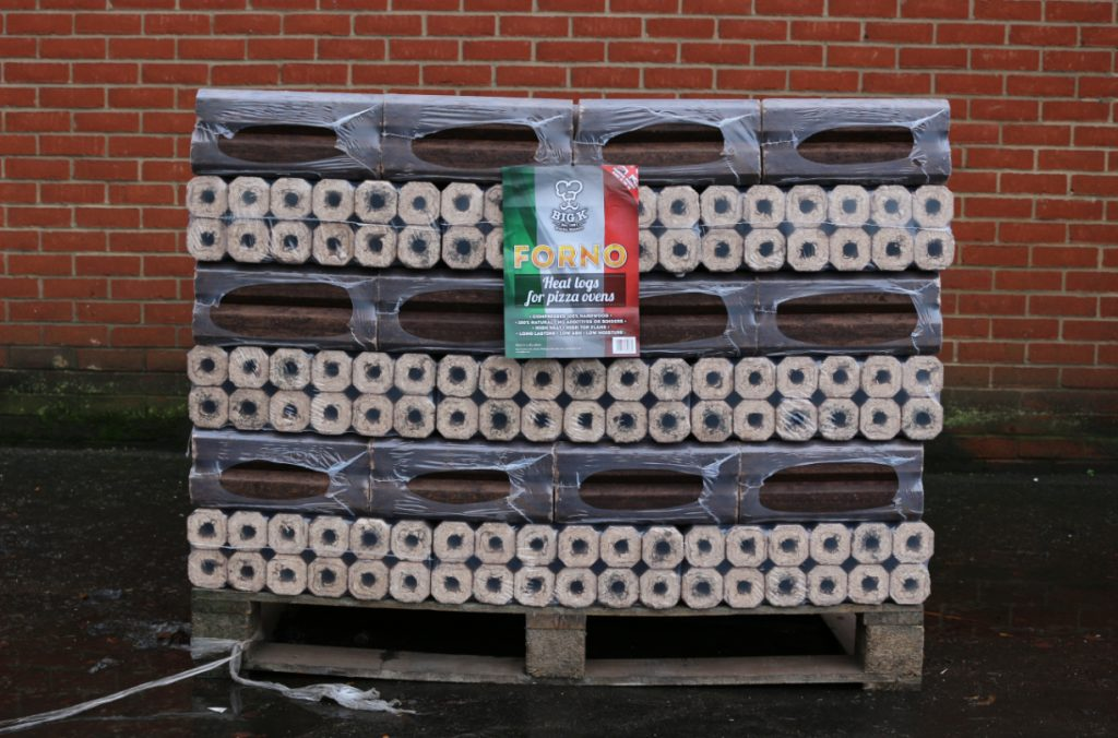 A pallet of our pizza oven fuel Forno logs stands ready to be shipped