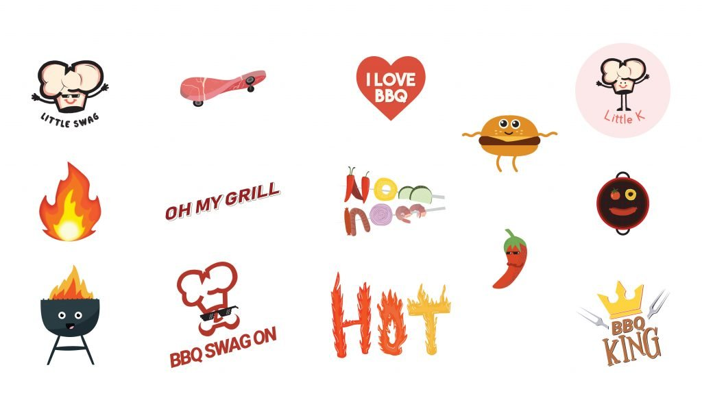 A sheet of stickers custom designed for all the BBQ kids