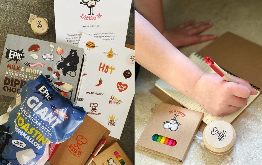 A picture of the welcome pack Little K sent to all the BBQ kids including chocolate, marshmallows and coloured pencils