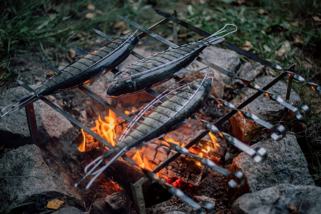 A camping BBQ fire cooks delicious whole fish wedged in a serving grill