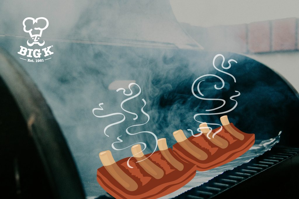 A BBQ Smoker is open with smoke escaping the main smoking chamber. An illustrated rack of BBQ ribs sits on the cooking grill.