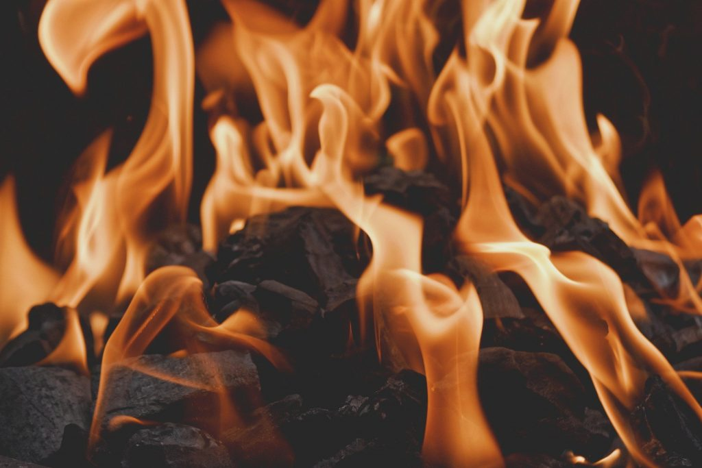 A bunch of smokeless fuel wood burns with orange flames in a fireplace