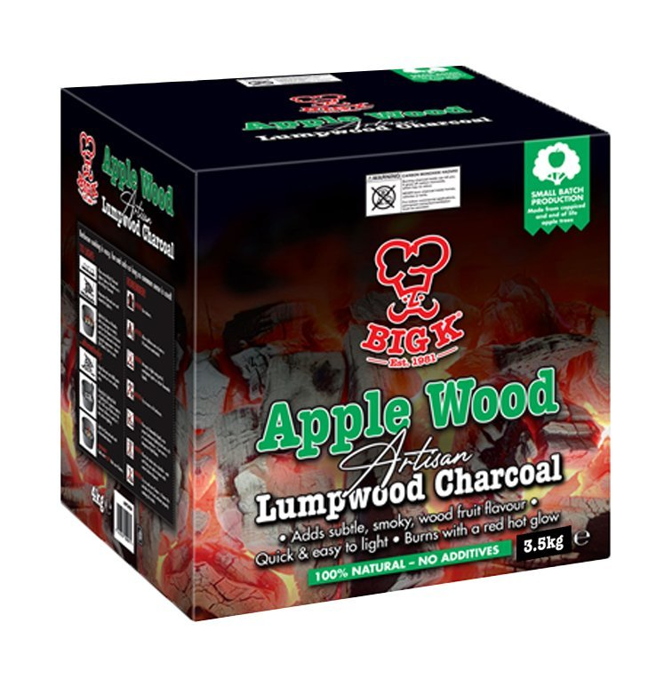 A picture of Big K Applewood Lumpwood Charcoal in a box