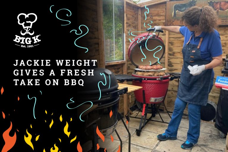 Jackie Weight lifts the lid in her barbecue to reveal a selection of meats cooking nicely.